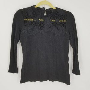 Lucky Brand Floral Lace Neckline 3/4 Sleeve Top